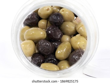 turkish traditional food delicious Green and black  olives isolated on a white background. Top view.