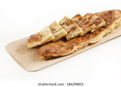 Turkish traditional kir pidesi beef Pide isolated