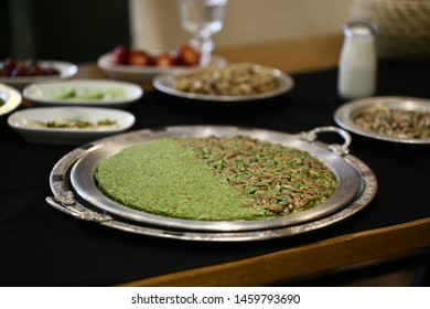 Turkish traditional Kunefe/kanafeh/ with plenty of pistachio sweet cheese pastry