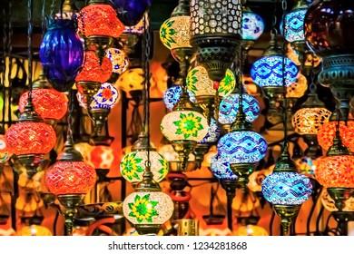 Turkish traditional lanterns, lamps Grand bazaar Istanbul