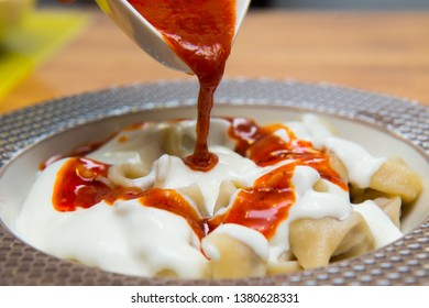 Turkish Traditional Manti Food. Turkish Ravioli