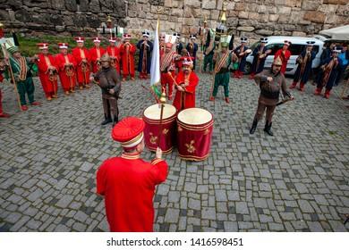 Turkish traditional music band Mehter. Bursa, Turkey - April 14, 2019; Turkish traditional music band Mehter in Ottoman costumes on April 14, 2019 in Osmangazi