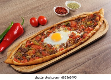 Turkish Traditional Pita with Minced Beef and Egg