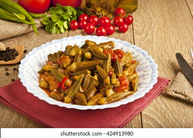 Turkish traditional ramadan food Okra dish with concept background