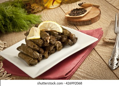 Turkish traditional Ramadan Wrap stuffed with olive oil Ottoman, Turkish and Greek cuisine, the most beautiful appetizer.