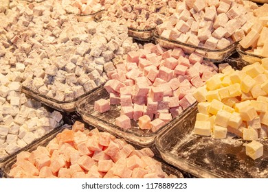 Turkish traditional sweets, Delight  in counter in the Grand Bazar market, Istanbul
