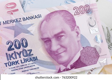 Turkish, Two Hundred Lira banknote front, close-up detail