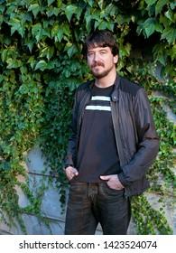 Turkish writer and novelist Hakan Bicakci in interview in Taksim, istanbul, Turkey, September 10 2018