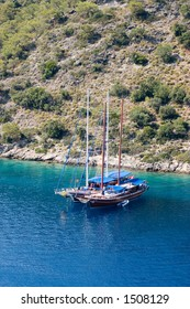 Turkish yachts at anchor in Gemiler Bay, near Fethiye
