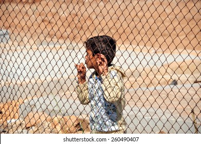TURKISH-SYRIAN BORDER - APRIL  08, 2012: Unidentified Syrian child in refugee camp in Turkey  on April  08, 2012 the Turkish - Syrian border.