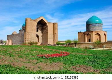 Turkistan, Kazakhstan – April 4, 2019 - View of the Mausoleum of Khoja Ahmed Yasawi in Turkestan