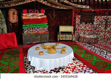 Turkistan, Kazakhstan – April 4, 2019 – Interior of the traditional Kazakh yurt