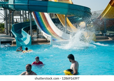 Turkler, Turkey - August 4, 2018: View on many all inclusive concept hotels in resort area with aquapark