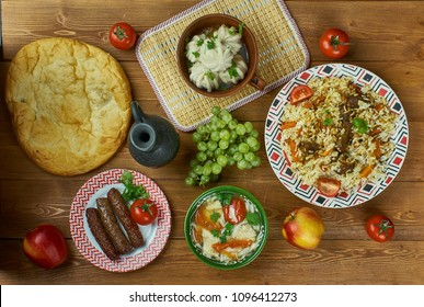 Turkmen cuisine , Traditional assorted dishes, Top view.Central Asian cuisine