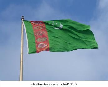 Turkmenistan flag in Ashgabat, capital city of Turkmenistan.