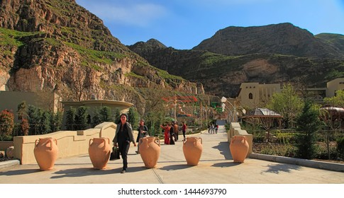 Turkmenistan, Village Gorge - March 23, 2019: Entrance to the complex Gala. A beautiful vacation spot for tourists and local people. The complex is located about 15 km from Ashgabat.