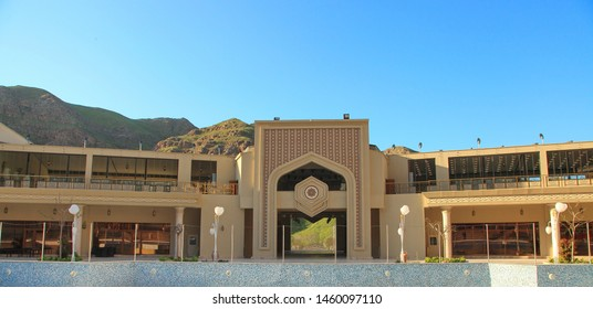 Turkmenistan, Village Gorge - March 23, 2019: Gala complex, patio. A beautiful vacation spot for tourists and local people. The complex is located about 15 km from Ashgabat.