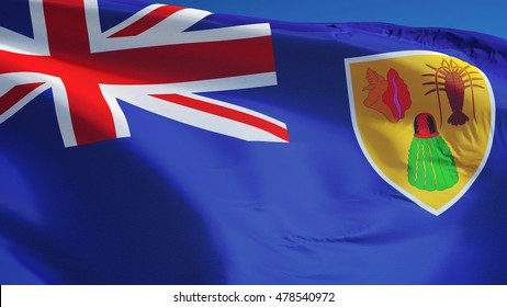 Turks and Caicos Islands flag waving against clean blue sky, close up, isolated with clipping path mask alpha channel transparency