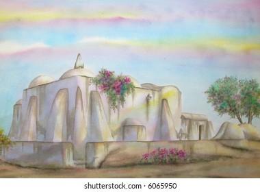 "Turks Islamic Mosque, Houmt-Souq, Djerba Island, Tunis, Africa; 50x70 cms. = 20""x28"""" # 97-065"