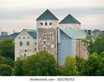 Turku Castle (Turun linna), medieval building in city of Turku in Finland. Dawn