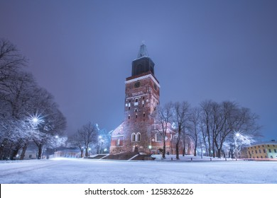 Turku Cathedral at winter night in Turku, Finland
