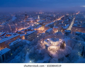 Turku cityscape with the old observatory on Vartiovuori hill and Turku Cathedral at winter morning.