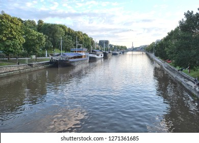 Turku, Finland - 08.02.2015: Turku is a city on the southwest coast of Finland at the mouth of the Aura River, in the region of Southwest Finland. River with boats
