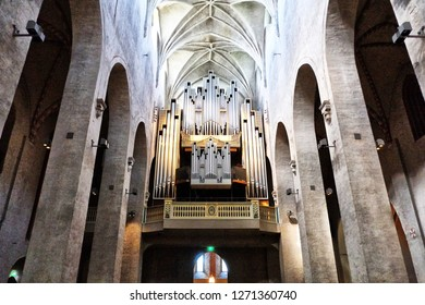 Turku, Finland - 08.03.2015: Turku Cathedral is the previous catholic cathedral of Finland, today the Mother Church of the Evangelical Lutheran Church of Finland. Organ