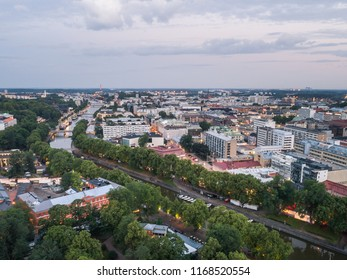 TURKU, FINLAND - 20/07/2018: Aerial view of Downtown of Turku, Finland