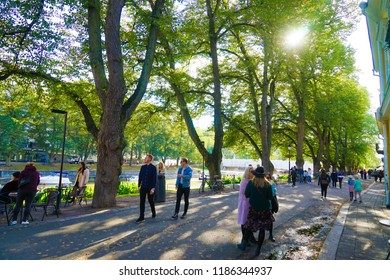 Turku, Finland - 22 September 2018: Banks of the River Aura, a popular tourist attraction in Turku during the summer months