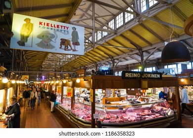 Turku, Finland - 22 September 2018: Interior of the Turku Market Hall, completed in 1896 and today one of the cities most popular tourist attractions