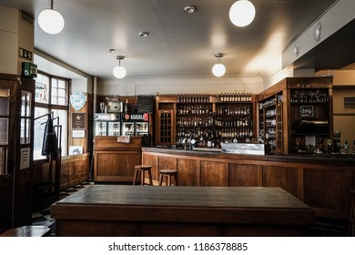Turku, Finland - 22 September 2018:  Interior of the Uusi Apteekki Pub in Turku, a bar built into the actual Old pharmacy and one of the most popular tourist attractions in Turku.