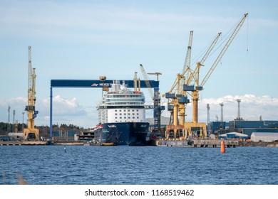 TURKU, FINLAND - 24/04/2017: Meyer Turku shipyard with Mein Schiff 6 under construction