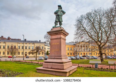 TURKU, FINLAND - APRIL 29, 2018: Photo of Monument to the Governor of Turku Peru Brahe