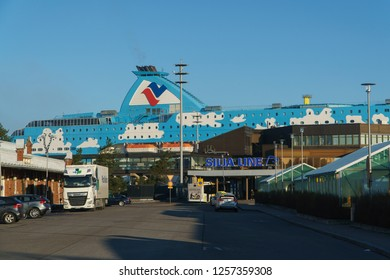 TURKU, FINLAND - April 30, 2018: Office of Silja Line cruisery company in the Port of Turku with big Liner near, Finland, April 30, 2018.