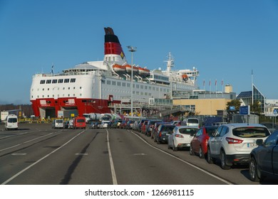 TURKU, FINLAND - April 30, 2018: Turku-Stockholm ferry, car queue to Amorella ship of Viking Line company, April 30, 2018.