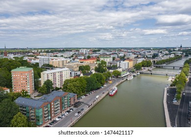 TURKU, FINLAND - AUGUST 02,2019: Aerial view of city of Turku. Photo made by drone from above. Finland. Europe.
