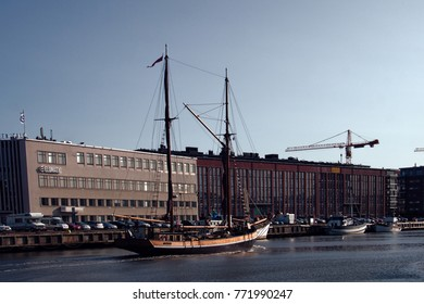Turku, Finland - August 25, 2017: Channels in city and old two-masted ship