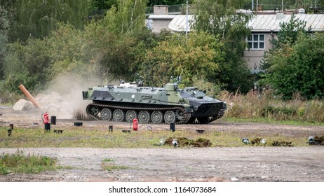 TURKU, FINLAND - AUGUST 25, 2018: Finnish Defence forces 100 years celebration show.