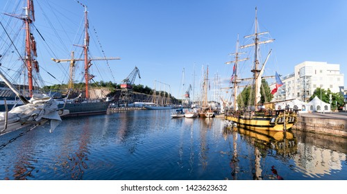"""Turku, Finland - July 21, 2017: Tall ships moored in Turku port during """"The Tall Ships' Races"""" which is Europe's largest, free, family festival."""