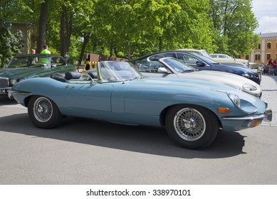 TURKU, FINLAND - JUNE 13, 2015: Blue Jaguar E-type Roadster (OTS) Series 2, a side view. The show was the parade of vintage cars