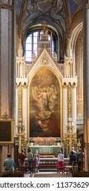Turku / Finland - June 24 2018:  Altar inside Turku Cathedral, in Turku, Finland, during a midsummer service.