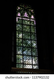 Turku / Finland - June 24 2018:  Turku Cathedral stained glass windows, back lit by midsummer sun, in Turku, Finland.