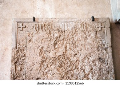 Turku / Finland - June 24 2018:  Close up of top of Sarcophagus stone cover on display in the Turku Cathedral, in Turku, Finland.