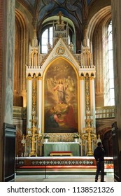 Turku / Finland - June 24 2018:  Chancel and altar inside Turku Cathedral, in Turku, Finland, during midsummer.