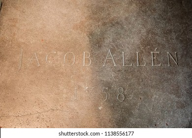 Turku / Finland - June 24 2018:  Sarcophagus top stone cover of grave of Jacob Allén, 1758, in the Turku Cathedral, in Turku, Finland.