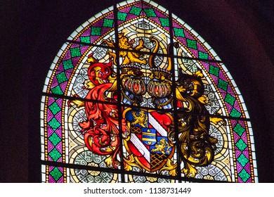 Turku / Finland - June 24 2018:  Close up of Turku Cathedral stained glass windows, back lit by midsummer sun, in Turku, Finland.
