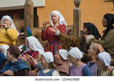 Turku, Finland - June 30, 2018: Medieval Turku (Reskiajan Turku) street festival participants in period clothing.