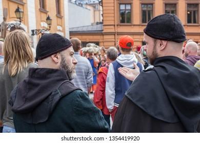 Turku, Finland - June 30, 2018: Medieval Turku (Reskiajan Turku) festival participants dressed as monks.