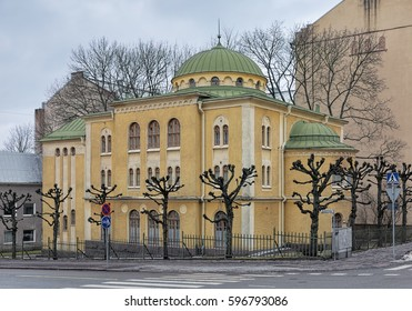 TURKU, FINLAND - MARCH 2, 2017: Turku Synagogue. The building by design of architects August Krook and Johan Eskil Hindersson was built in 1910-1912. This is one of the two synagogues in Finland.